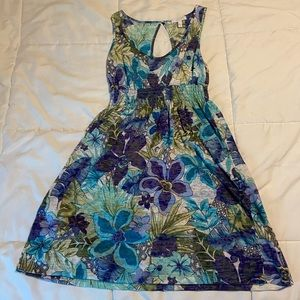 Floral Dress with Back Cut Out